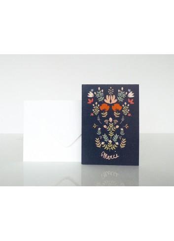 Carte Merci- Bouquet Folk