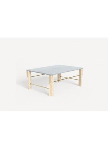Table basse Joséphine - Marbre blanc, chêne massif & laiton Hartô
