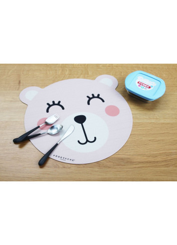Set de table en vinyle - Ourson rose
