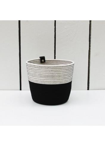 Cache-pot M - Noir & blanc en coton fabriqué en Belgique
