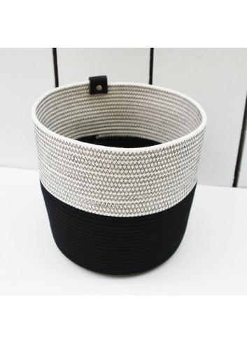 Cache-pot L - Noir & blanc en coton fabriqué en Belgique