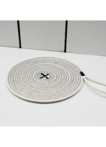 Dessous de plat en coton - Écru & noir en coton fabriqué en Belgique