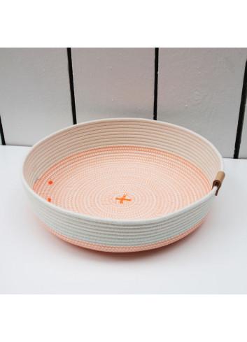 Panier bas L - Blanc & orange fluo en coton fabriqué en Belgique