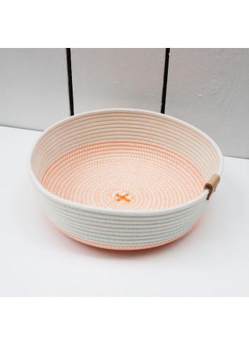 Panier bas - Blanc & orange fluo en coton fabriqué en Belgique