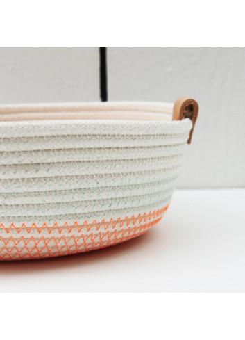 Panier bas S - Blanc & orange fluo en coton fabriqué en Belgique
