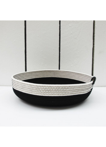 Panier bas L - Noir & blanc en coton fabriqué en Belgique