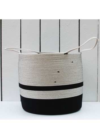 Grande panière en corde de coton - Blanc & noir