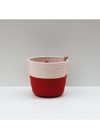 Cache-pot M - Brick & écru Koba en coton