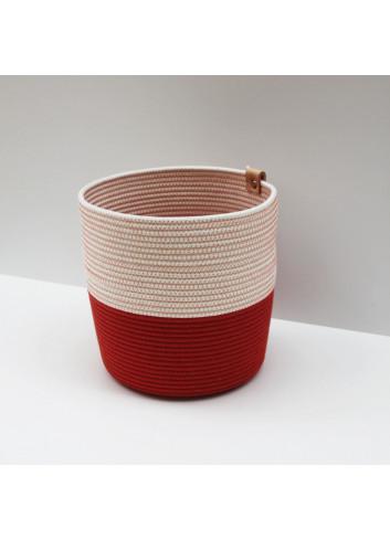 Cache-pot L - Brick & écru Koba en coton