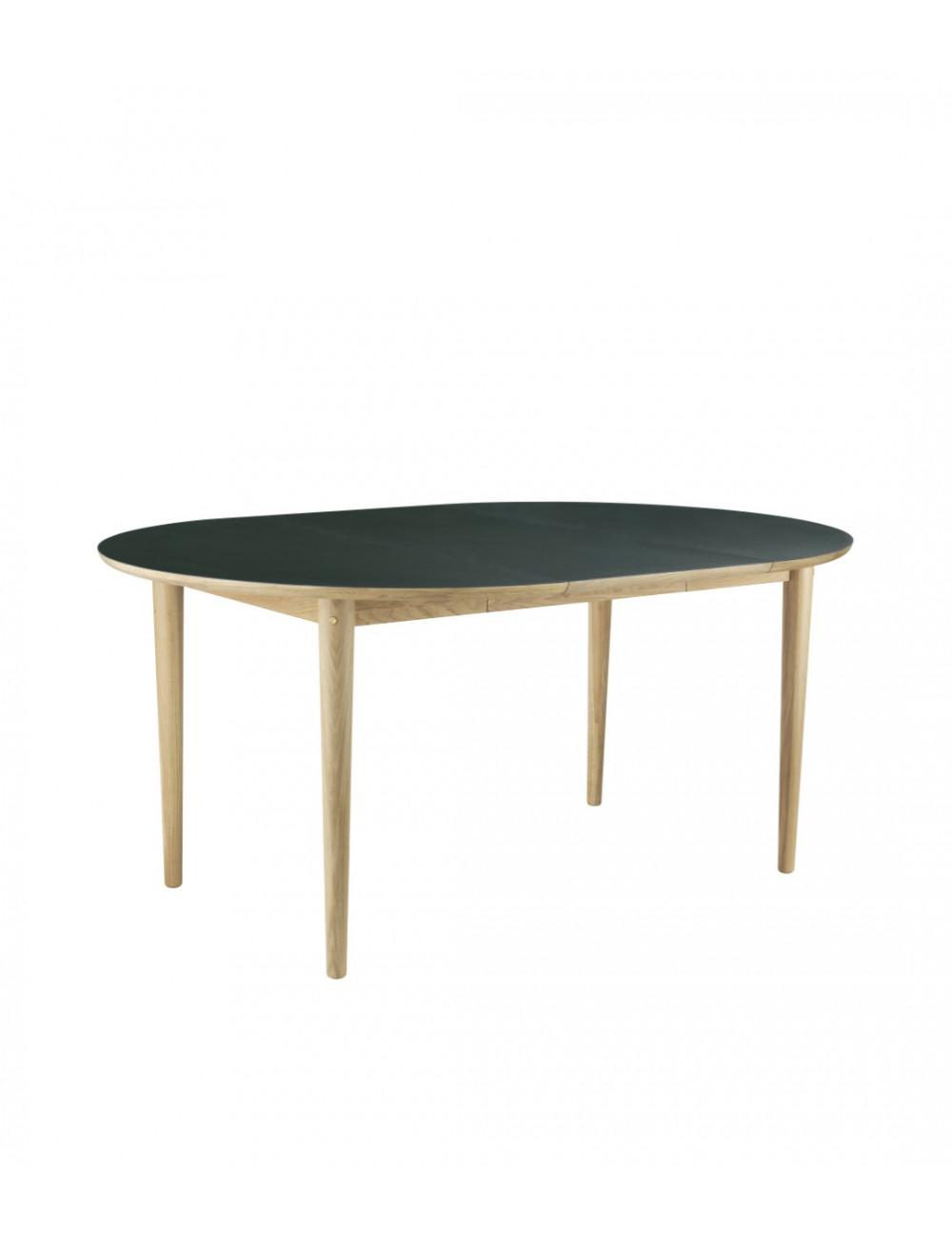 Table ronde extensible Bjork C62E - Chêne & Lino vert FDB Mobler