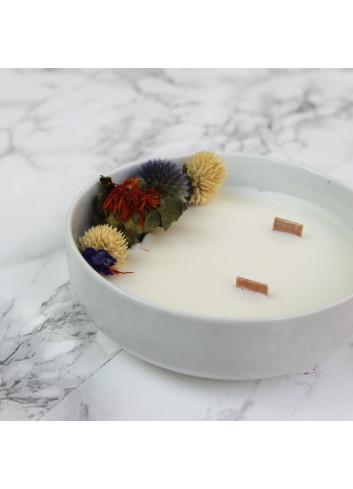 Bougie fleurie en pot - Bois précieux