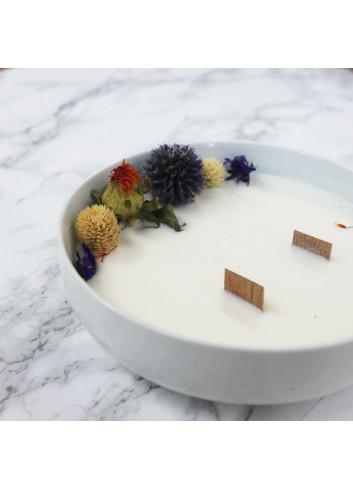Grande bougie fleurie en pot - Bois précieux