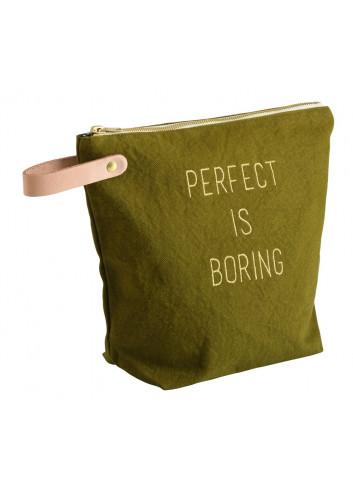 """Trousse de toilette """"Perfect is boring"""" - Lichen en coton La Cerise sur le Gateau"""