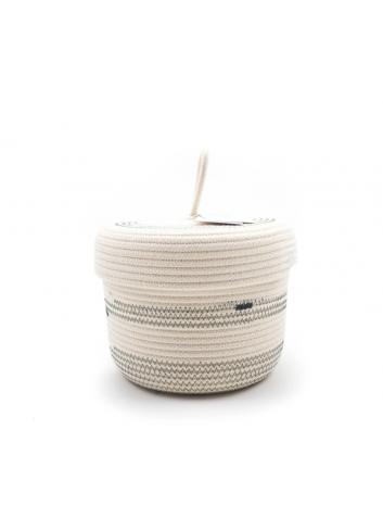 Panier en corde de coton avec couvercle S - Écru & gris koba bruxelles