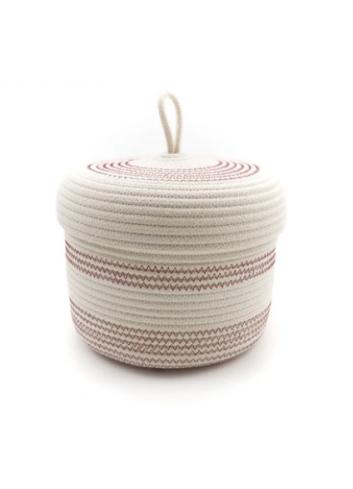 Panier en corde de coton avec couvercle S - Écru & bordeau koba bruxelles