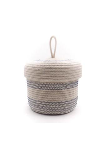 Panier en corde de coton avec couvercle S - Écru & bleu koba