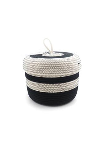 Panier en corde de coton avec couvercle S - Écru & noir koba