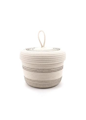 Panier en corde de coton avec couvercle S - Écru & marron koba