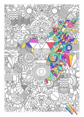 Affiche géante à colorier- Happy Patchwork