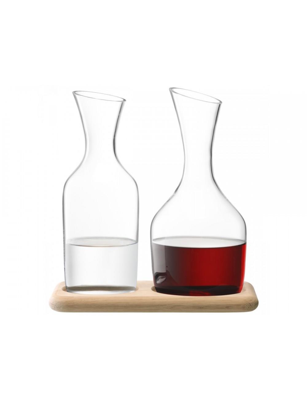Carafe à vin/eau sur planche en chêne