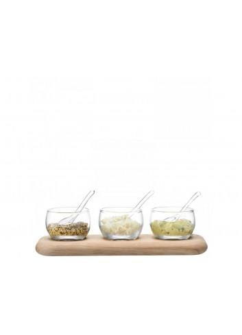 Service à condiments en verre transparent et plateau en chêne 25.5 cm