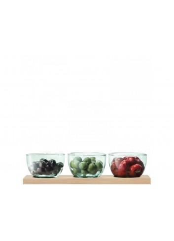 Service à tapas & plateau en chêne - verre recyclé