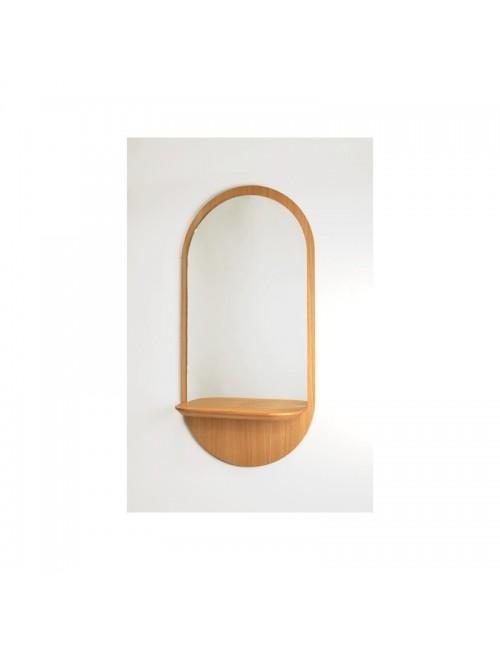 Solstice - le miroir ovale avec tablette- chêne- made in france- reine mere