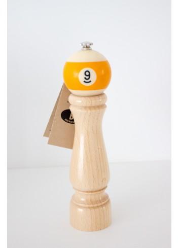 """Poivrier bois boule billard jaune """"9"""" fabriqué en Belgique New life factory"""