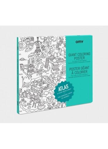 Poster géant à colorier- atlas- OMY- carte du monde