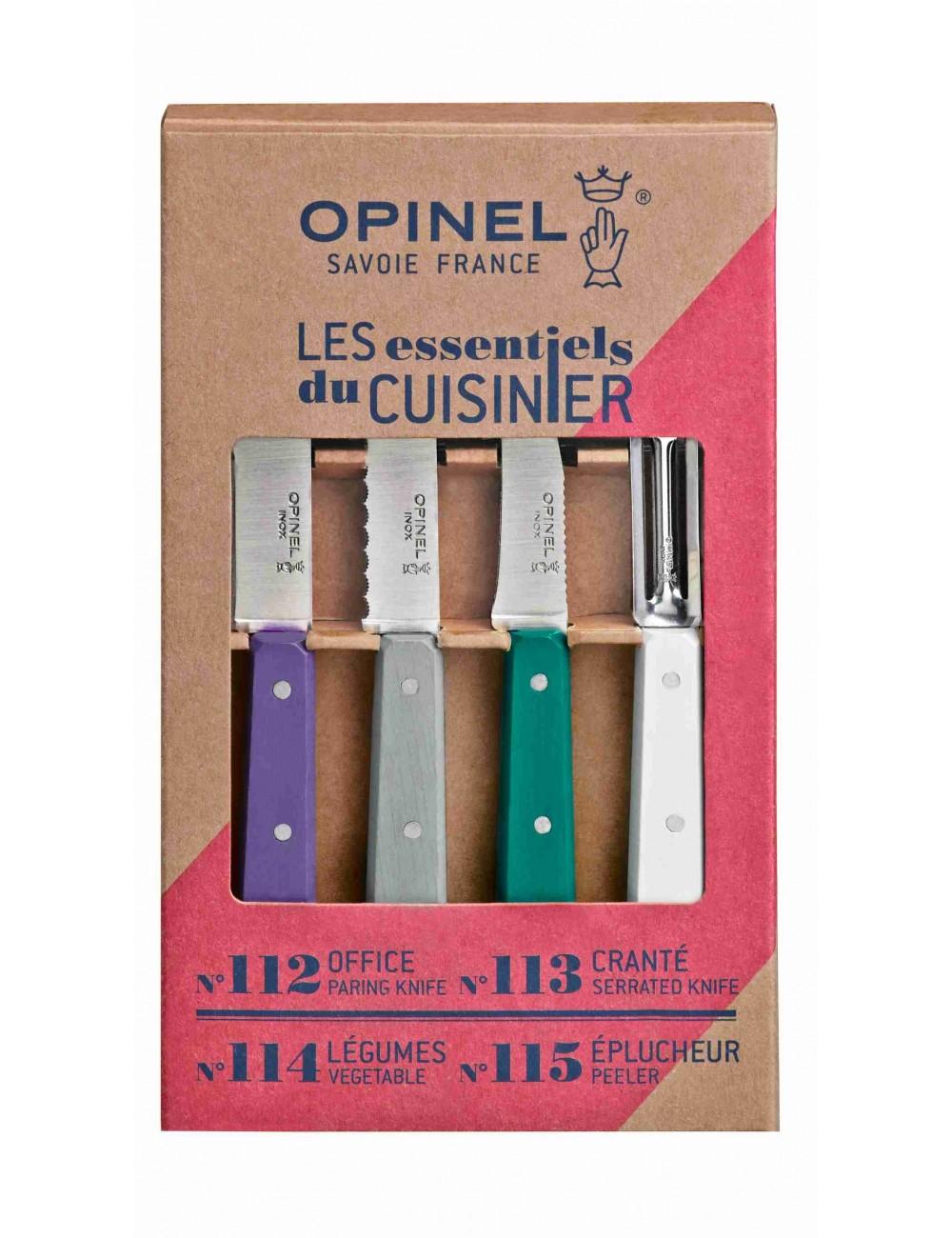 Les essentiels - Art Déco set de 4 couteaux de cuisine Opinel fabriqués en Europe