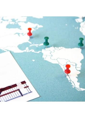 Carte du monde en liège - bleu et blanc fabriqué en espagne miss wood