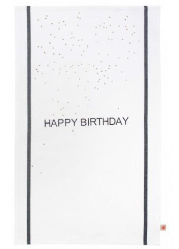 Torchon Happy Birthday coton la cerise sur le gateau fabriqué au Portugal