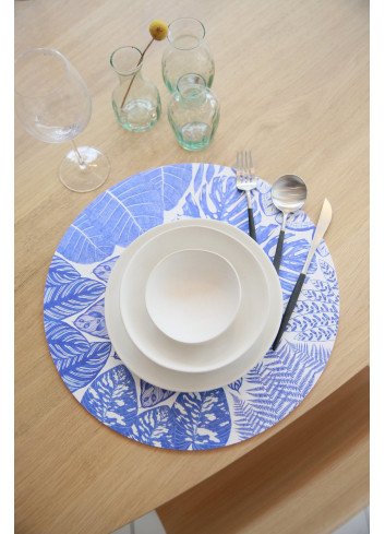 Sets de table bleus ronds