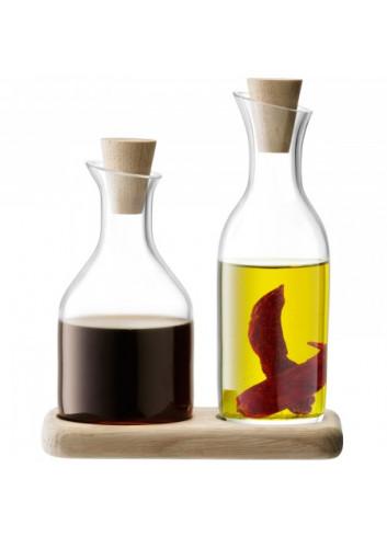 Set huile et vinaigre sur planche en chêne