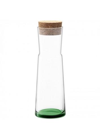 carafe en verre fond vert bouchon en liège Made in Poland.