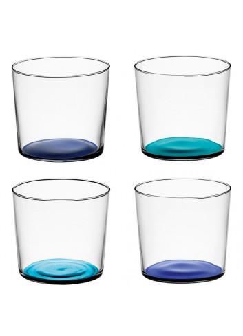 Verres en verre recyclé fond bleu made in Poland