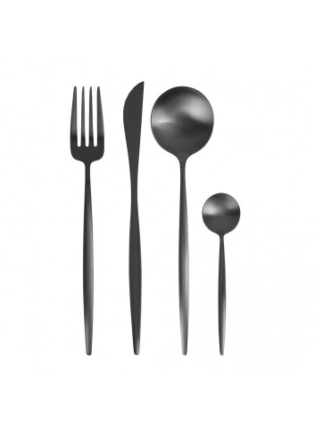 Set de 24 couverts - Moon noir matt- cutipol - fabrication portugaise