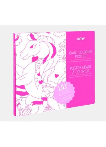 Poster géant à colorier- Lily OMY fabrication française en papier recyclé