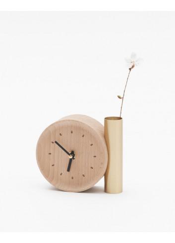 horloge fleur hêtre massif