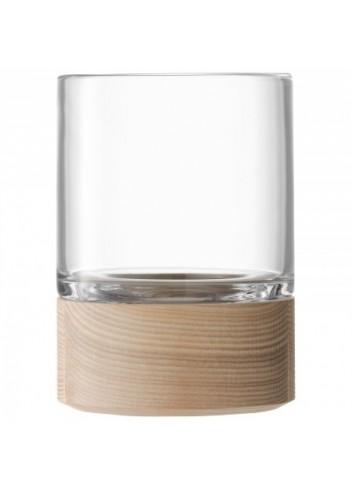 Vase/ Photophore- socle en bois- 18 cm