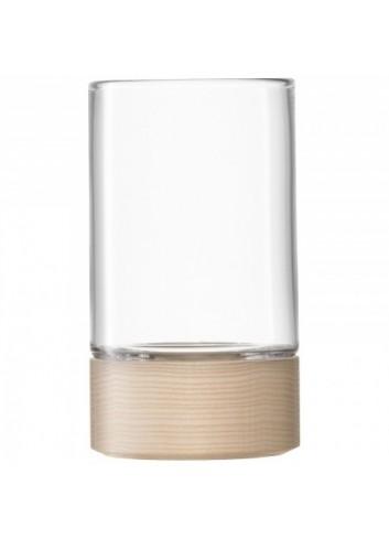 Vase/ Photophore- socle en bois- 23 cm