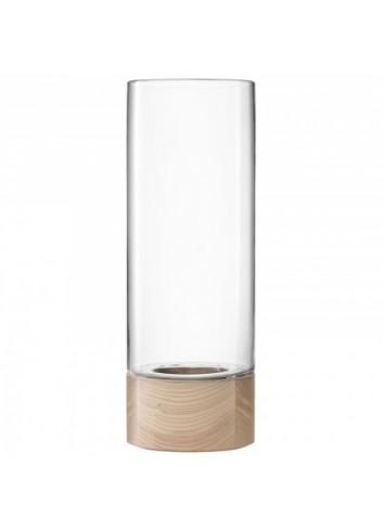 Vase/ Photophore- socle en bois- 62 cm