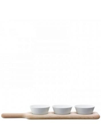Service à condiments et plateau en chêne- Paddle