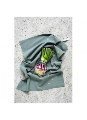 torchon de cuisine sauge pois or La cerise sur la gateau coton bio