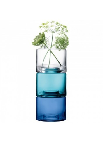 Trio de vases- transparent/Bleu