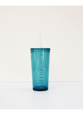 Verre et paille intégrée - Bleu en verre réutilisable