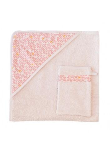 Cape de bain + gant de toilette Pebble Pink