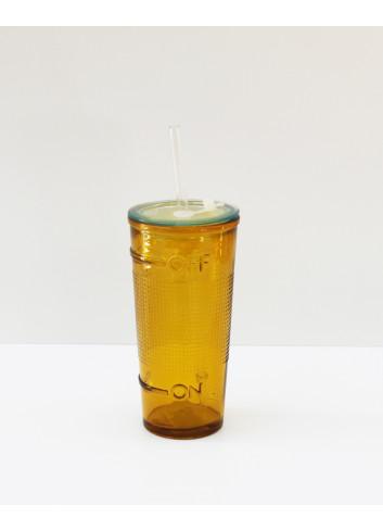 Verre et paille intégrée - Jaune en verre recyclé